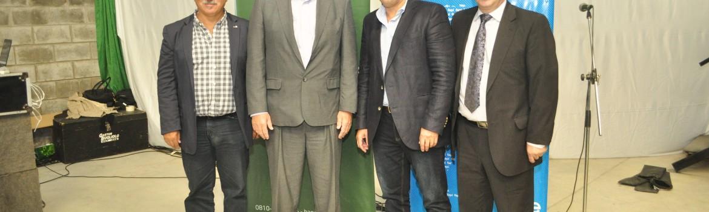 Horacio Lamberti, Jorge Elustondo, Edgardo Gámbaro y Guillermo Britos en el encuentro de Parques Industriales.