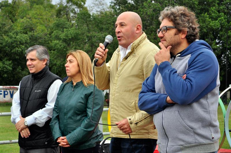 Guillermo Britos, Liliana Varela, Néstor Palomeque y Oscar Fernández en el Polideportivo